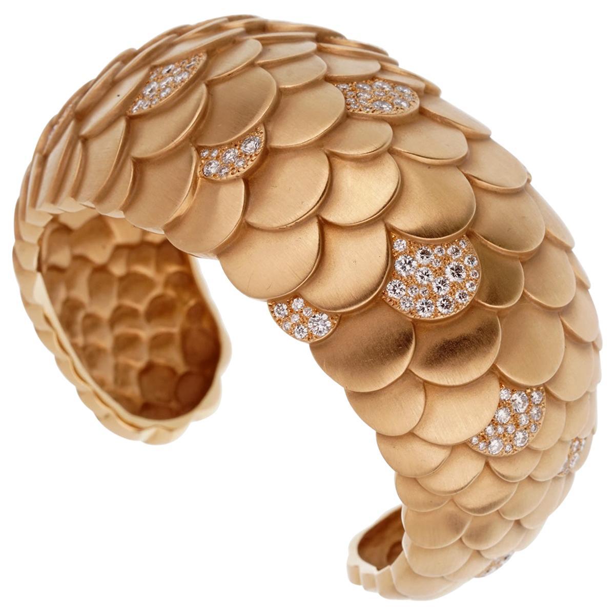 Pomellato Rose Gold Diamond Cuff Bangle Bracelet