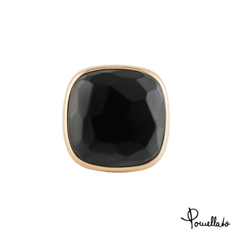 Pomellato Rose Gold Onyx Ring In Excellent Condition For Sale In London, GB
