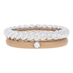 Pomellato Round Brilliant Diamond-Accented Ring, 18 Karat Rose and White Gold