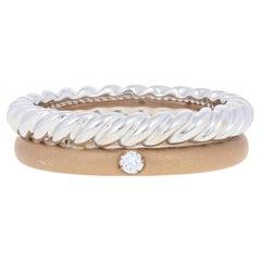 Pomellato Round Brilliant Diamond-Accented Ring, 18k Rose & White Gold