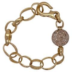 Pomellato Sabbia Diamond 18 Karat Yellow Gold Open Link Bracelet Modern
