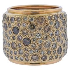 Pomellato Sabbia Fancy Diamond Gold Wide Band Ring