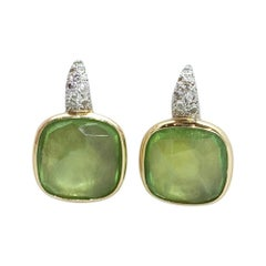 Pomellato Sherezade Earrings in 18 Karat White&Yellow Gold, Diamonds and Peridot