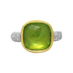 Pomellato Sherazade Ring in 18k White and Yellow Gold Diamonds and Peridots