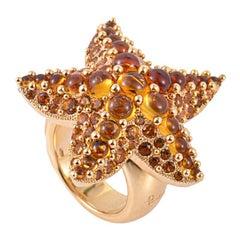 Pomellato Sirene 18 Karat Rose Gold Madeira Quartz and Citrine Starfish Ring