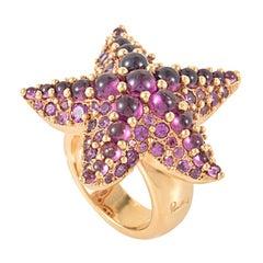 Pomellato Sirene 18 Karat Rose Gold Rhodolite Starfish Ring A.A704/O7/GR