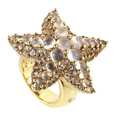 Pomellato Sirene 18 Karat Yellow Gold White Topaz and Moonstone Starfish Ring