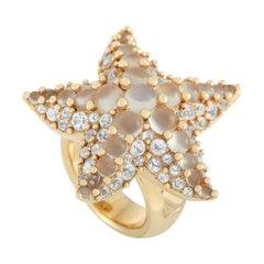 Pomellato Sirene 18k Yellow Gold Moonstone and Topaz Starfish Ring