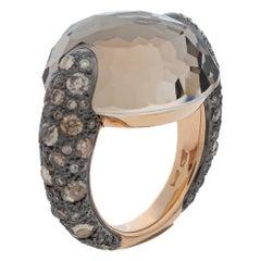 Pomellato Smoky Quartz & Diamond 18K Rose Gold Tango Ring Size 50.5