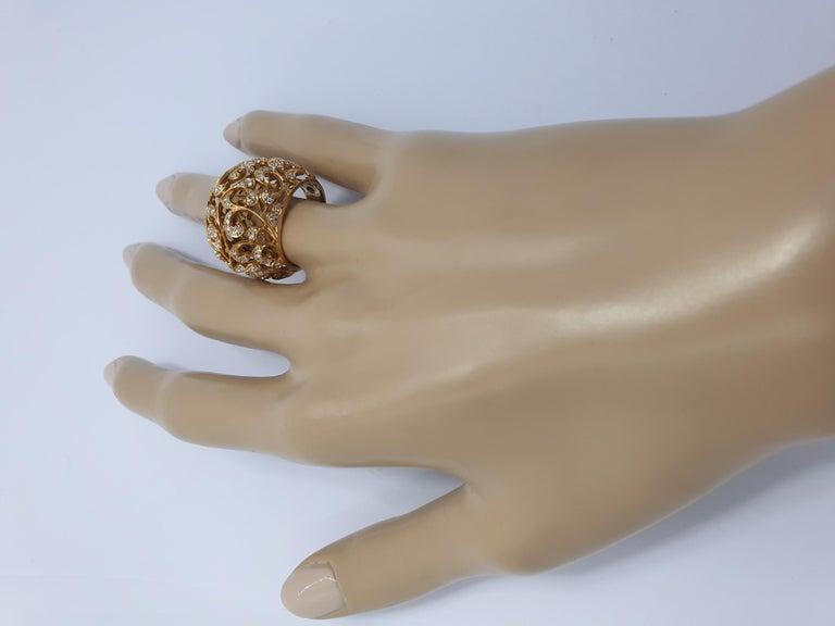 Orient  Style  Ring 18 Karat Pink Gold and 0.87 Carat of Diamonds 5