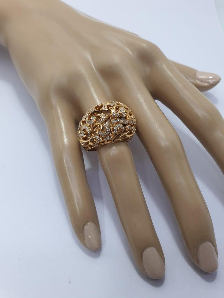 Orient  Style  Ring 18 Karat Pink Gold and 0.87 Carat of Diamonds 4