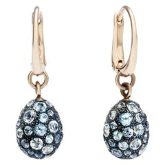 Pomellato Tabou Earrings in 18 Karat Burnished Gold and Blue Topazes