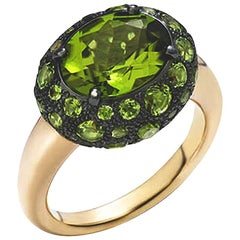 Pomellato Tabou Peridot Burnished 18 Karat Gold Ring