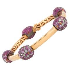 Pomellato Tango 18k Yellow Gold 1.76ct Diamond and Pink Sapphire Bangle Bracelet