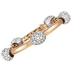 Pomellato Tango 18K Yellow Gold and Silver 13.67 Ct Iced Diamond Bangle Bracelet
