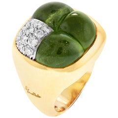 Pomellato Three Cabochon Peridot Diamond 18 Karat Yellow Gold Dome Ring