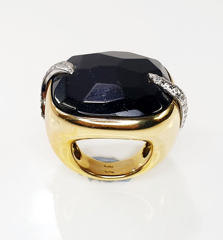 Our Shop carries International luxury brands and sometimes buys rests of Jewelry stocks at great deals and opportunities.  The Victoria Black Jet Pomellato ring Retail Price is around 12.000€. Size Europe 55 US 7 Weight   Synonymous with creativity