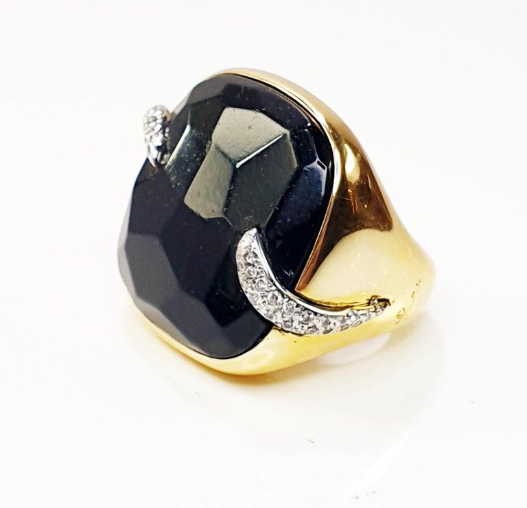 Pomellato Victoria Black Jet and 18 Karat Gold and Diamond Ring For Sale 1