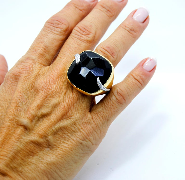 Pomellato Victoria Black Jet and 18 Karat Gold and Diamond Ring For Sale 2