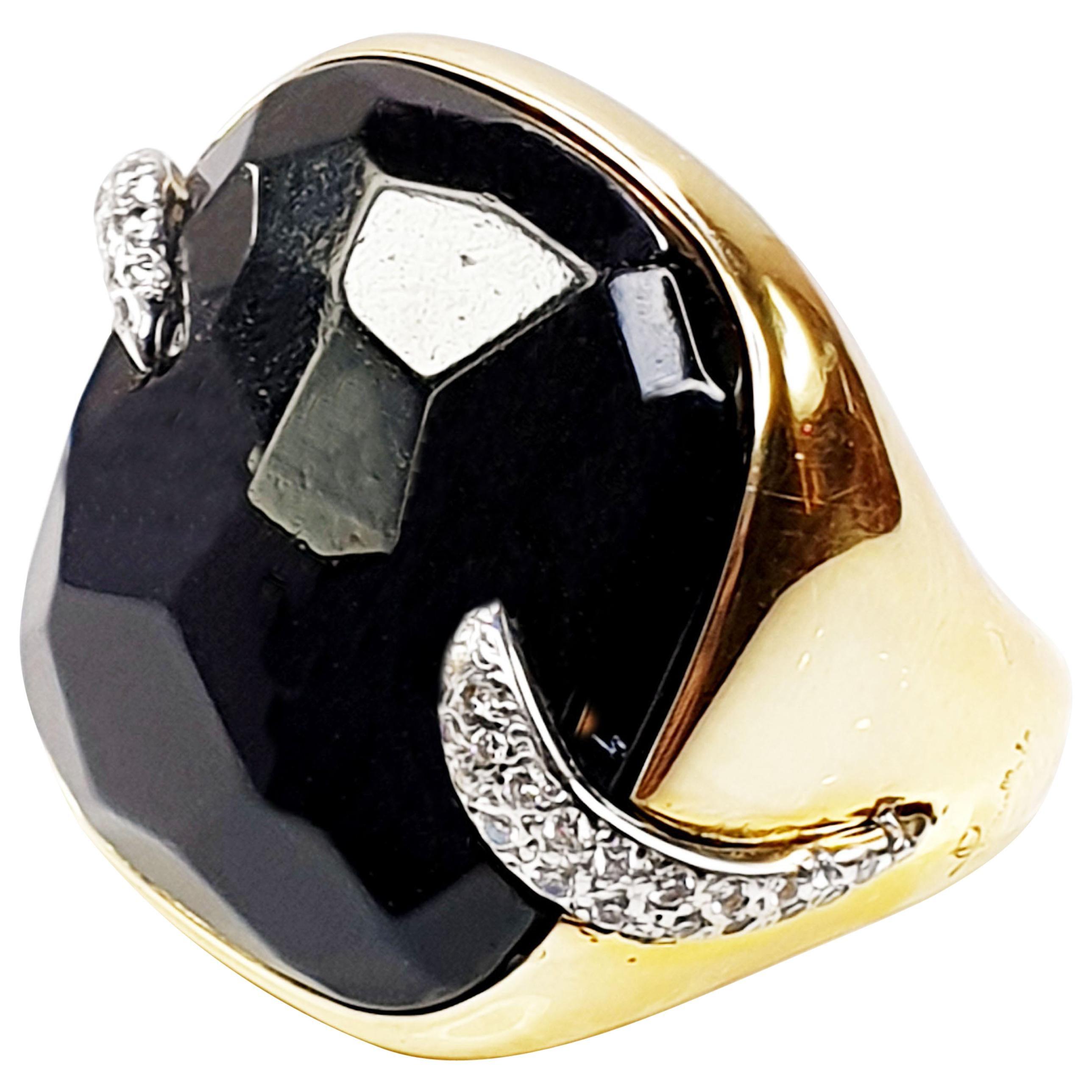 Pomellato Victoria Black Jet and 18 Karat Gold and Diamond Ring