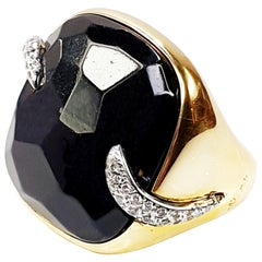 Pomellato Victoria Black Jet and 18 Karat Gold and Diamond Ring