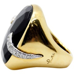 Pomellato Victoria Black Jet and 18kt Gold and Diamond Ring size 15