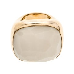 Pomellato Victoria Faceted White Stone 18k Rose Gold Cocktail Ring Size 50.5