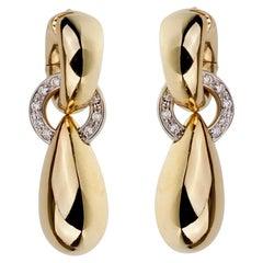 Pomellato Vintage Diamond Yellow Gold Drop Earrings