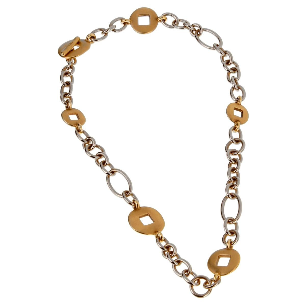 Pomellato White and Yellow Gold Heavy Link Necklace