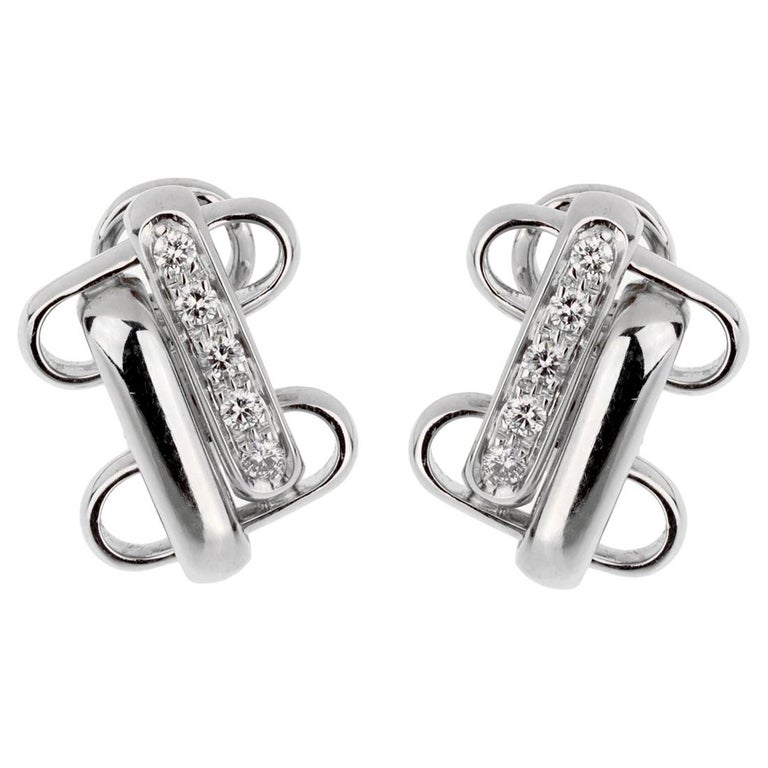 Pomellato White Gold Diamond Earrings For Sale
