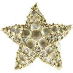 Pomellato White Topaz and Moonstone Ring in 18 Karat Yellow Gold