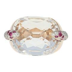 Pomellato White Topaz Cocktail Ring, 18k Gold Rubies and Diamonds 38.09 Carat