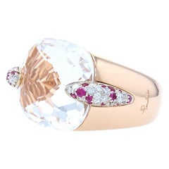 Pomellato White Topaz Cocktail Ring' 18k Gold Rubies & Diamonds 38.09ctw