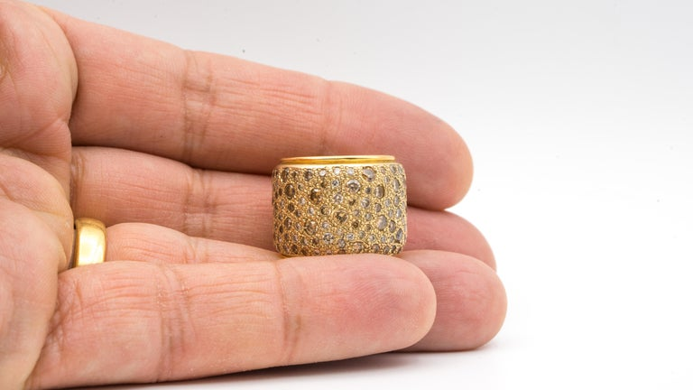 Pomellato Wide Band with Natural Champagne Color Diamonds 18 Karat Gold In Good Condition For Sale In New York, NY