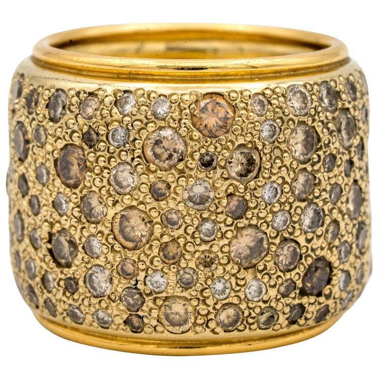 Pomellato Wide Band with Natural Champagne Color Diamonds 18 Karat Gold For Sale