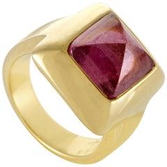 Pomellato Women's 18 Karat Yellow Gold Pink Tourmaline Pyramid Ring
