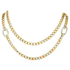 Pomellato 18K Yellow and 18K White Gold Long Chain Necklace
