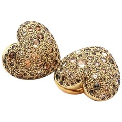 Pomellato Yellow Gold and 4.22 Carat Brown and Rose Diamonds Clip-on Earrings