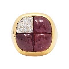 Pomellato Yellow Gold Tourmaline and Diamond Pave Cocktail Ring