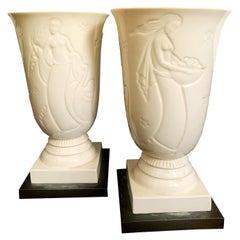 """Pomona, Leda and the Swan,"" Pair of Rare Art Deco Porcelain Luminaires by Lenox"