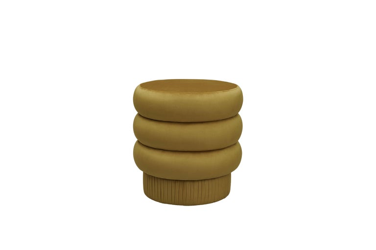 Pompa Pouf by Houtique Materials: Wood, Velvet Dimensions: H 45 x D 44 cm  Pouf with wood structure and velvet fabric 4 modules connected by wooden sleepers, each one Formed by 2 fiber-board discs of 16 mm, joined by wooden tufts. Upholstery