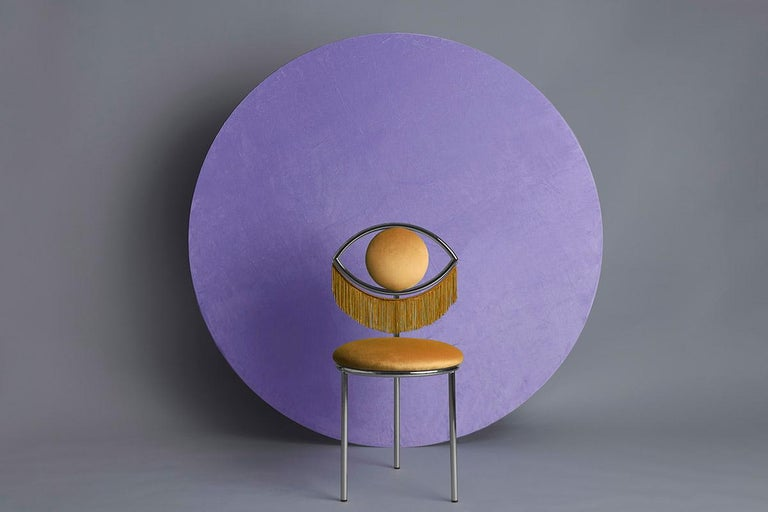 Velvet Pompa Pouf by Houtique For Sale