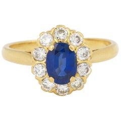 Pompadour Sapphire Diamonds 18 Karat Yellow Gold Ring