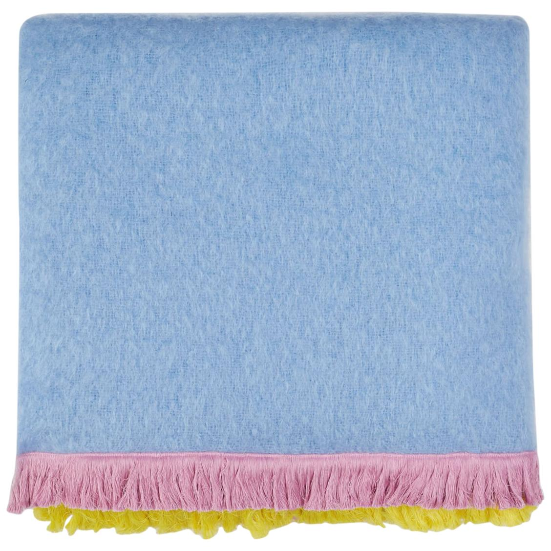 Pompallier, Hand Embroidered sweet blue Throw Blanket