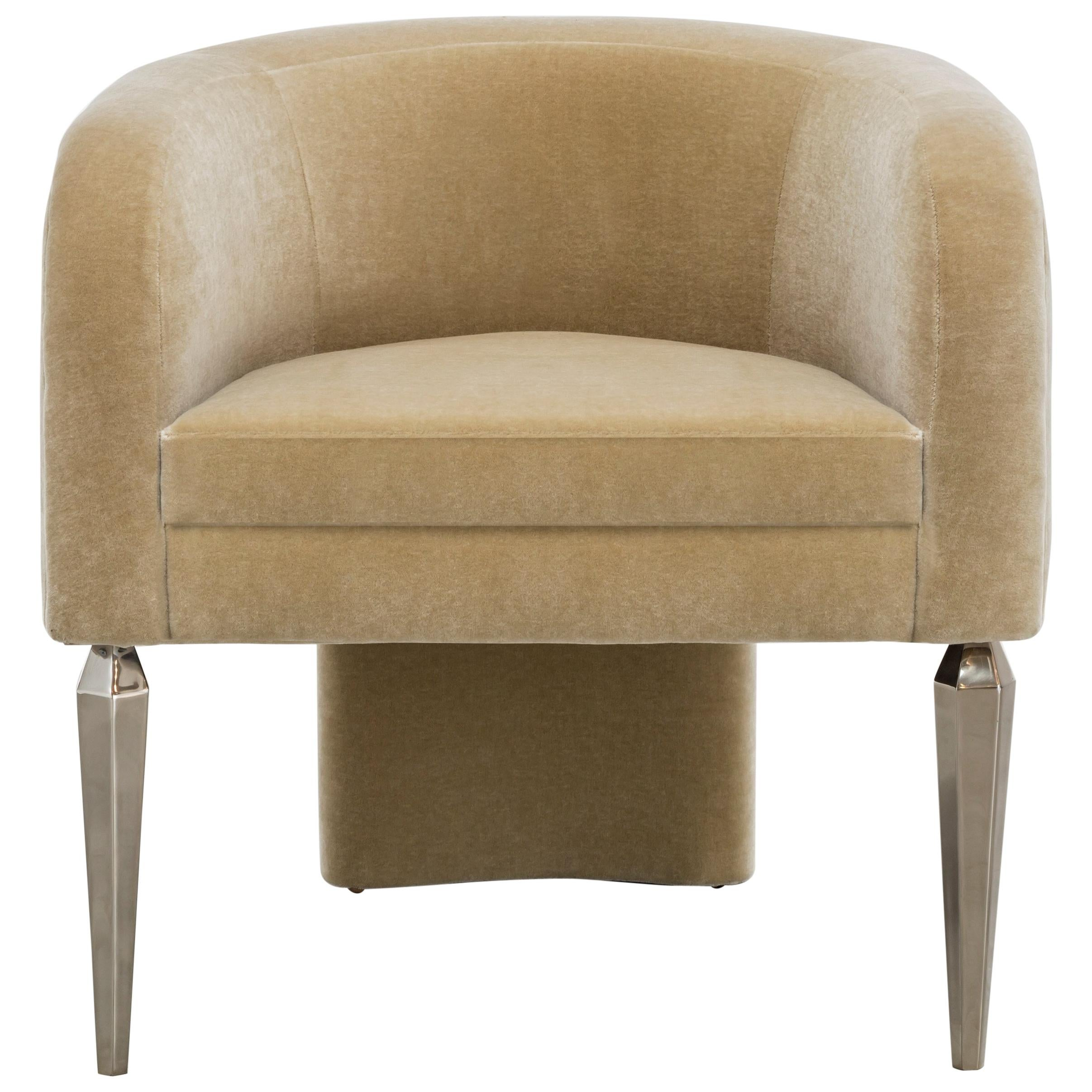 POMPE CHAIR - Modern Mohair Chair with Faceted Stiletto Legs