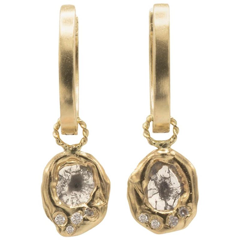 Mon Pilar Jewelry Pompeii Hoop Earring in 14kt Gold with Diamond Slice Charms For Sale