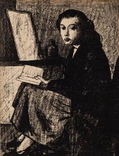 Reading Woman - Original Lithograph by Pompeo Borra - 1950 ca.