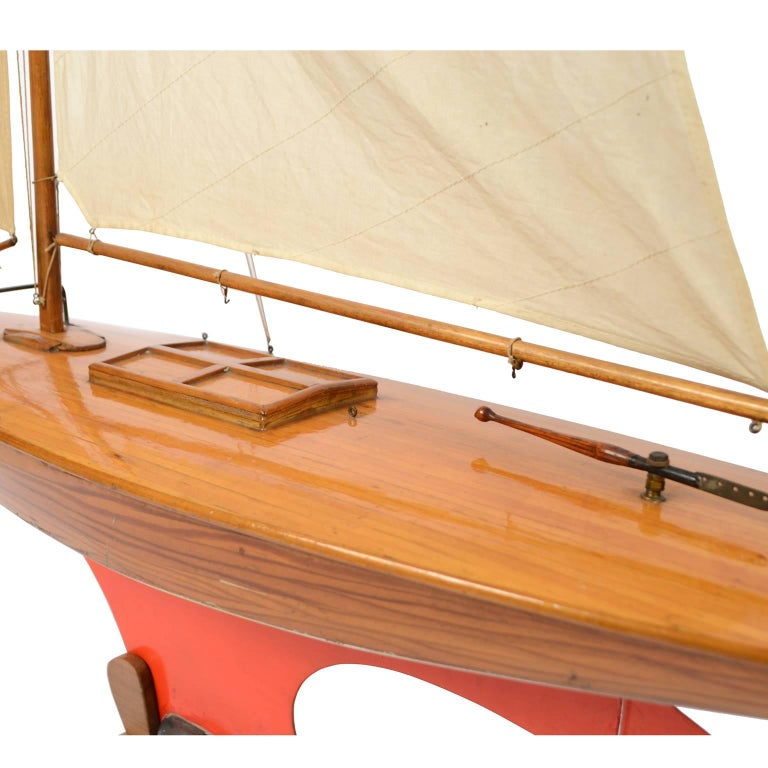 Mid-20th Century Pond Model on Wooden Base, Red and White Hull Made in the 1950s For Sale