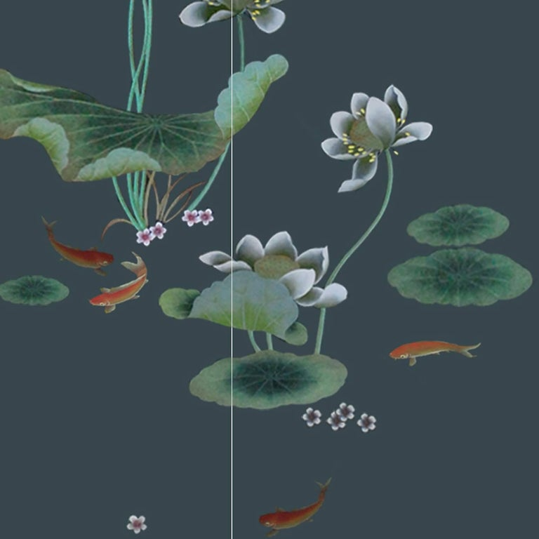 Hand-Painted Pond Wallpaper For Sale