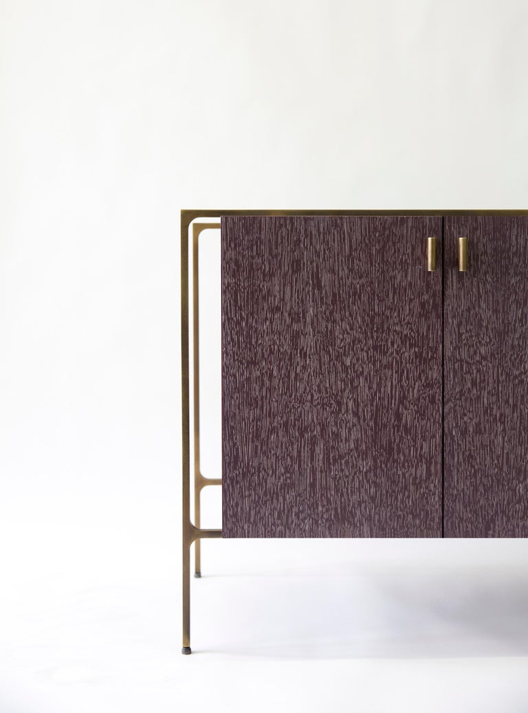 Patinated PONTE Credenza - cerused oak with patinated brass plated steel For Sale